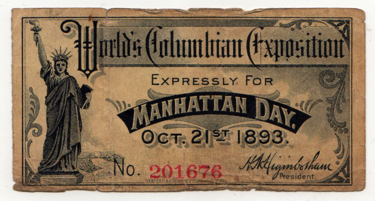 "October 21, 1893 ""Manhattan Day"" ticket to the World's Fair ( Novak Archive )"