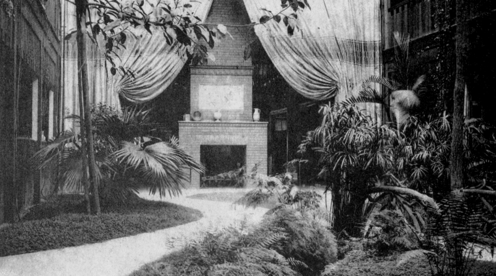 1906 photo of the Helicon Hall fireplace where nightly lectures and debates would occur