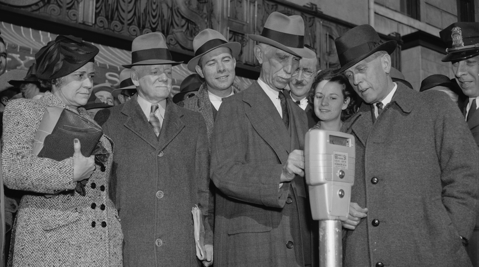 Parking meters being tried for the first time in Washington, D.C. on November 14, 1938 (   Library of Congress   )