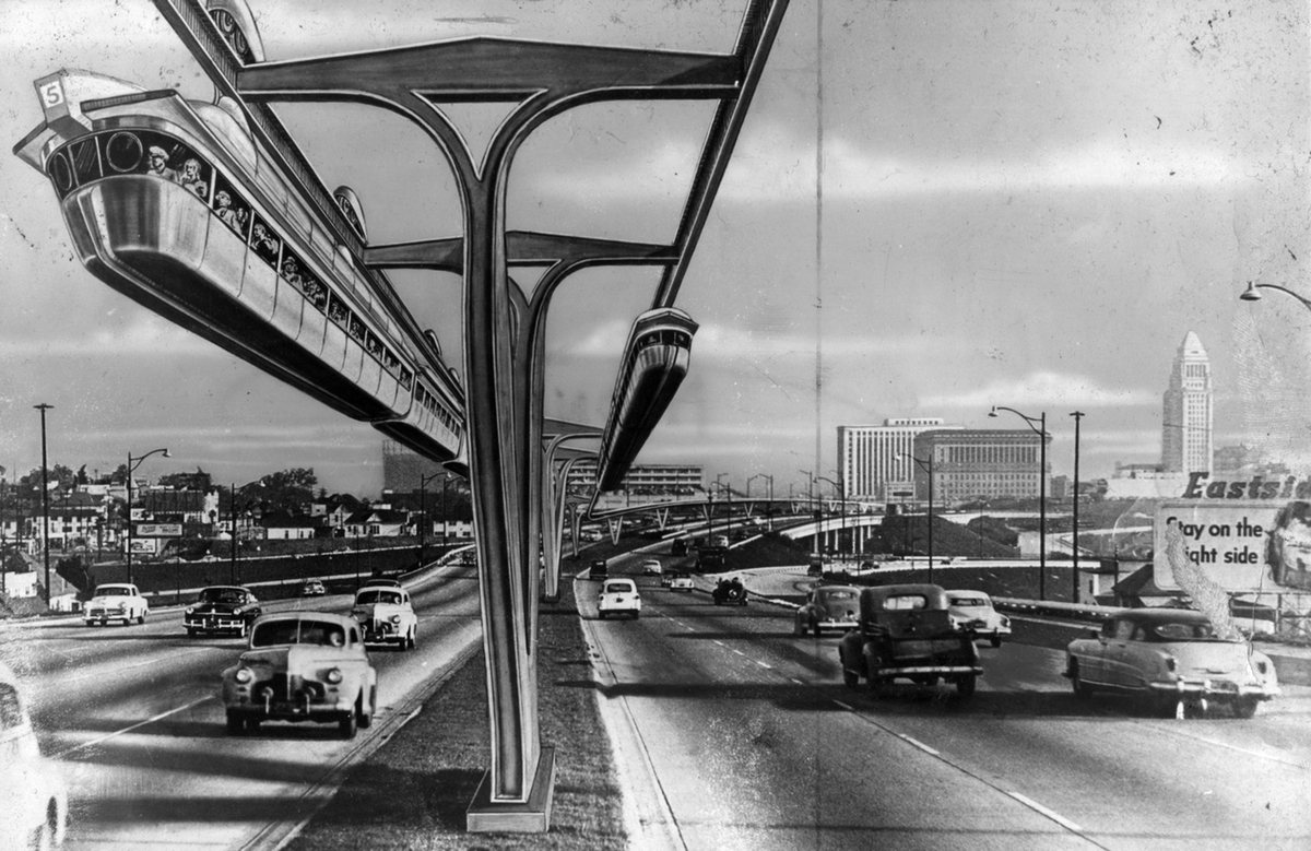 Illustration of the monorail of the future in Los Angeles, California, drawn in 1956 ( Novak Archive )