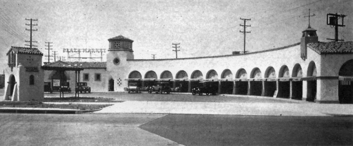 Photograph of the now defunct Plaza Market, 4651-4663 Pico Blvd in Los Angeles, scanned from the book    The Drive-In, The Supermarket, and the Transformation of Commercial Space in Los Angeles, 1914-1941    by Richard Longstreth