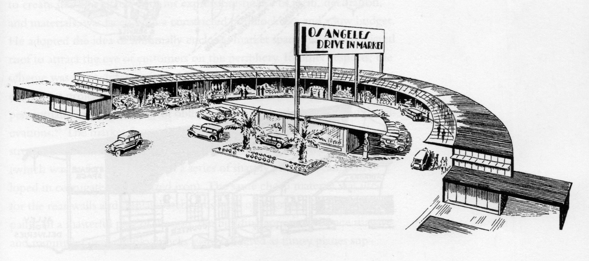 "Sketch of the ""Los Angeles Drive-in Market"" by    Richard Neutra    circa 1928, scanned from the book    The Drive-In, The Supermarket, and the Transformation of Commercial Space in Los Angeles, 1914-1941    by Richard Longstreth"