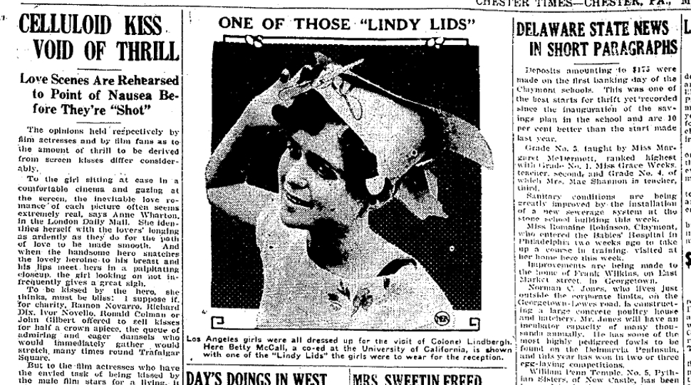 From the September 26, 1927 issue of the Chester Times in Chester, Pennsylvania,
