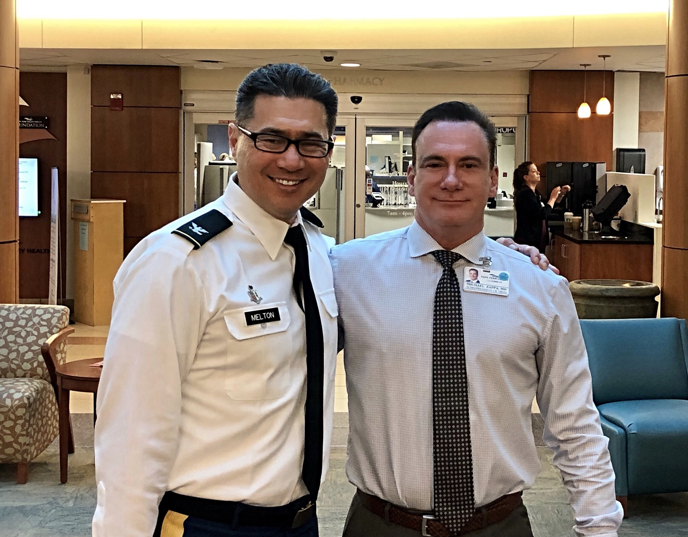 COL John Melton, Commander Womack Army Medical Center (WAMC), Fort Bragg, NC with Dr. Michael Zappa at Cape Fear Valley (CFV) Medical Center