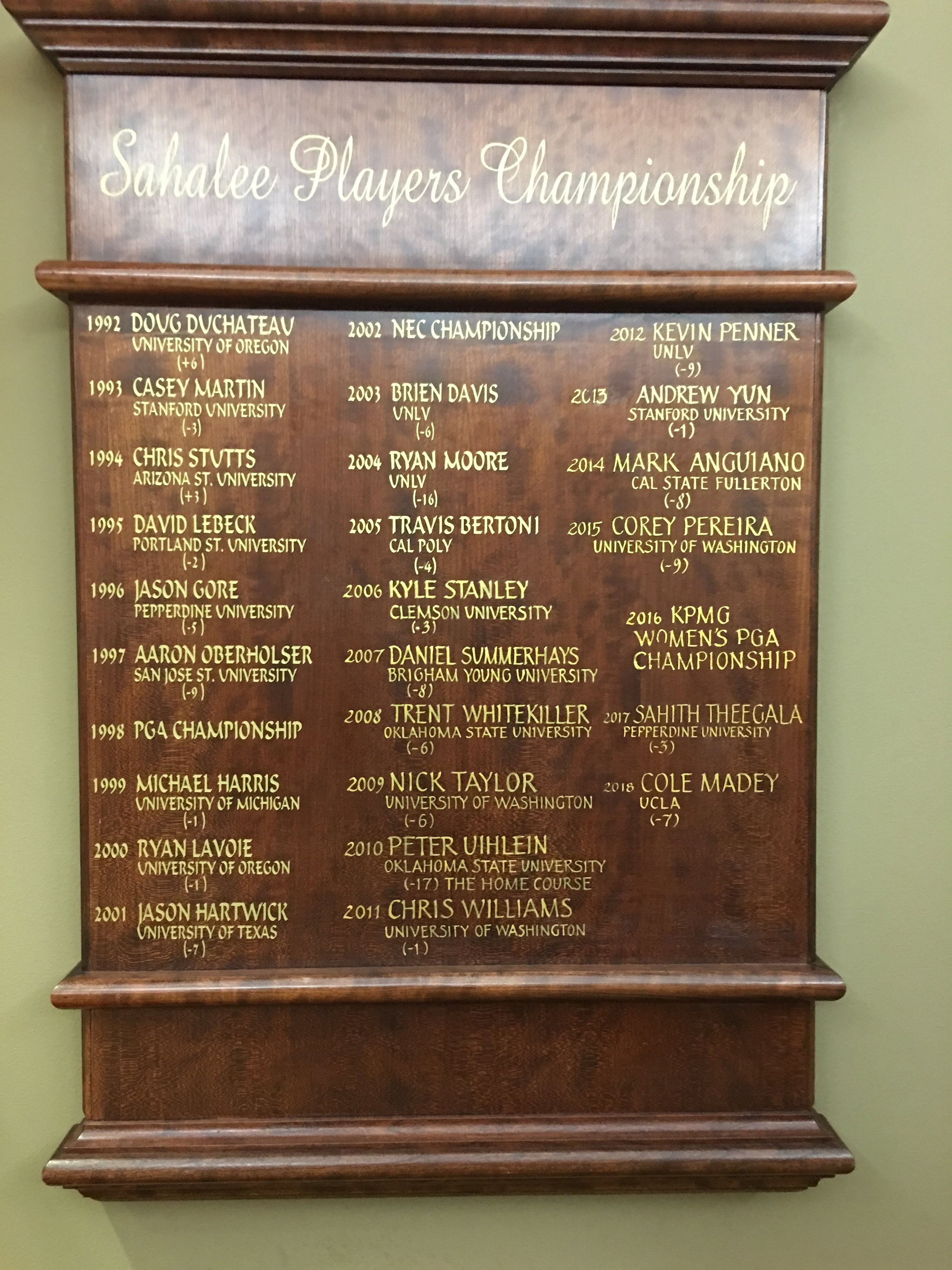 Birthplace of Champions - Sahalee Players Championship Perpetual Champions Plaque…. located in the Awards Hall of Sahalee Country Club