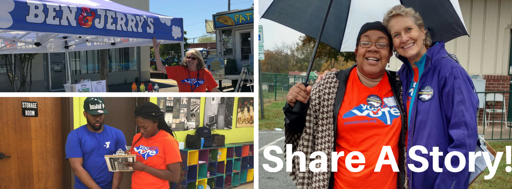 Three pictures show You Can Vote volunteers, wearing the typical orange shirts, out on the job. One enthusiastically points to a Ben & Jerry's sign. Another is registering a black man at a school. A third shows two volunteers laughing while they share an umbrella on a slightly rainy day.