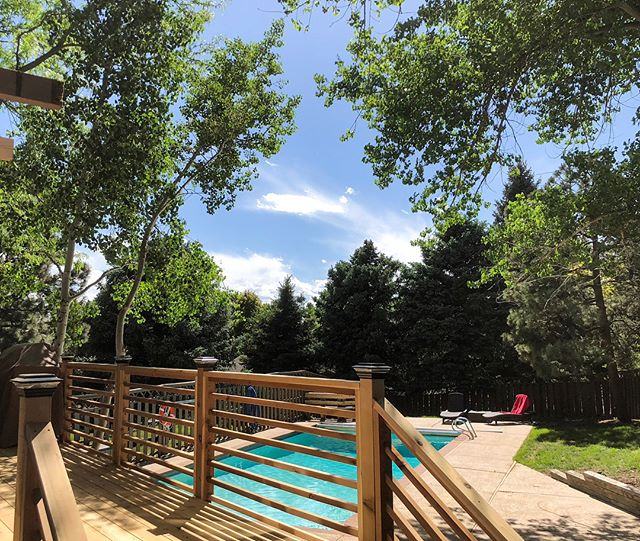 Decks are where family & friends gather, and memories are made! • •• ••• •••• ••• •• • #cedardecking #cedarrailing #denverdeckbuilders #DDB #familybusiness #summervibes #decks #pools #trees #beautifulcolorado