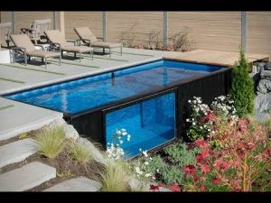 Swimming pool made out of shipping container