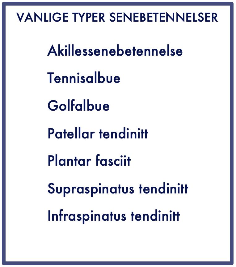 Typer av senebetennelse