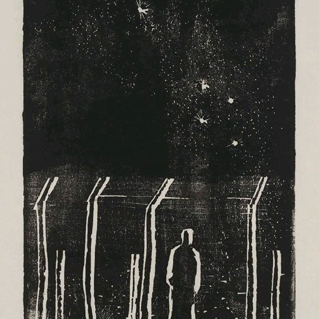 It's #NationalLottery25! @ace_national made it possible for me to launch Barbed Wire Fever, a project that explores what it means to seek and provide refuge. Here's refugee artist Ludwig Hirschfeld Mack's #iconic woodcut 'Desolation'.⠀ ⠀ https://buff.ly/2qK0jpE