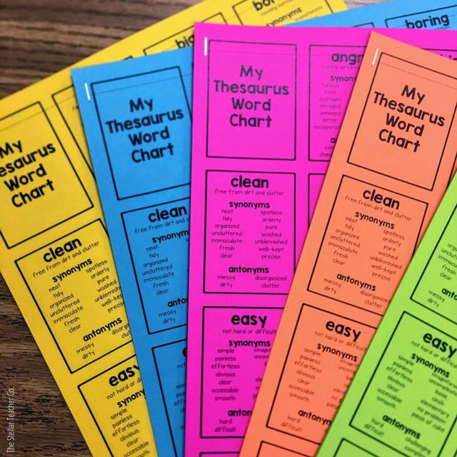 This is a student favorite! I was always trying to get my students to be more specific with their word choice. And even though my students knew how to use a thesaurus or thesaurus.com, they were too lazy to walk across the room to do so. :) So, to eliminate all excuses, I gave them their very own thesaurus word charts. ⠀⠀⠀⠀⠀⠀⠀⠀⠀ My students used these all the time. I loved seeing these fancy words pop up in their writing throughout the year. And I was THIRLLED, when so many of my students asked if they could take them home at the end of the year! ⠀⠀⠀⠀⠀⠀⠀⠀⠀ Send me a DM if you're interested in trying these out and want me to send you the link! . . .  #iteachthirdgrade #iteachfourthgrade #iteachfifthgrade #elementaryteachers #texasteachersofinstagram #teachers #teachersofinsta #stellarteacher #thestellarteachercompany #tptteachers #writersworkshop #writingworkshop #iteachwriting #4thgradewriting #iteachela #writingprocess #3rdgradewriting #iteachwriters #iteachwritingtoo #writingcenter #writingstation #wordchoice #vocabulary #teachercreated #iteach345 #astrobrights #colorizeyourclassroom #astrobrightsbts