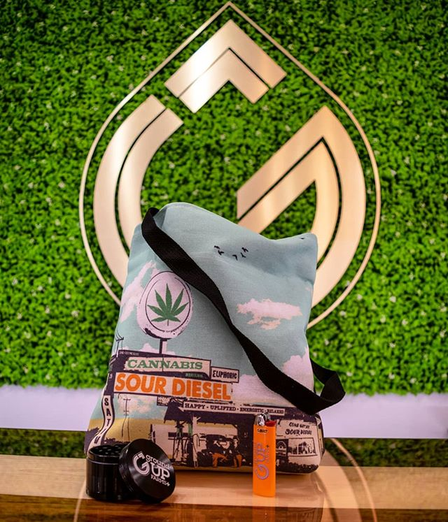 GIVEAWAY PRIZE! This month is a 3-in-1 swag bag, perfect for packing up sativa-fueled summer adventures! Throw a couple of essentials into this neat little tote featuring a retro-inspired Sour Diesel print and you're ready to go--we've already included the grinder and lighter to get you started 😉🔥💨 Enter to win when you fill up your punches on your Ground Up Farms Loyalty Card! ⭐ Ask your budtender for details! . . • Over 21 only • Nothing for sale on Instagram • Consume responsibly • . . #groundupfarms #livegroundup #giveawayprize #monthlygiveaway #swag #swagbag #weloveourcustomers  #cannabisswag #cannabisaccessories #cannabisaesthetic #sourdiesel #merch #grinder #summerfun #summeradventures #packyourbag #craftcannabis #cannabiscommunity #oregongrown #oregoncannabis #southernoregon #smokelocal #medfordoregon #medford #liveloud #enjoylife
