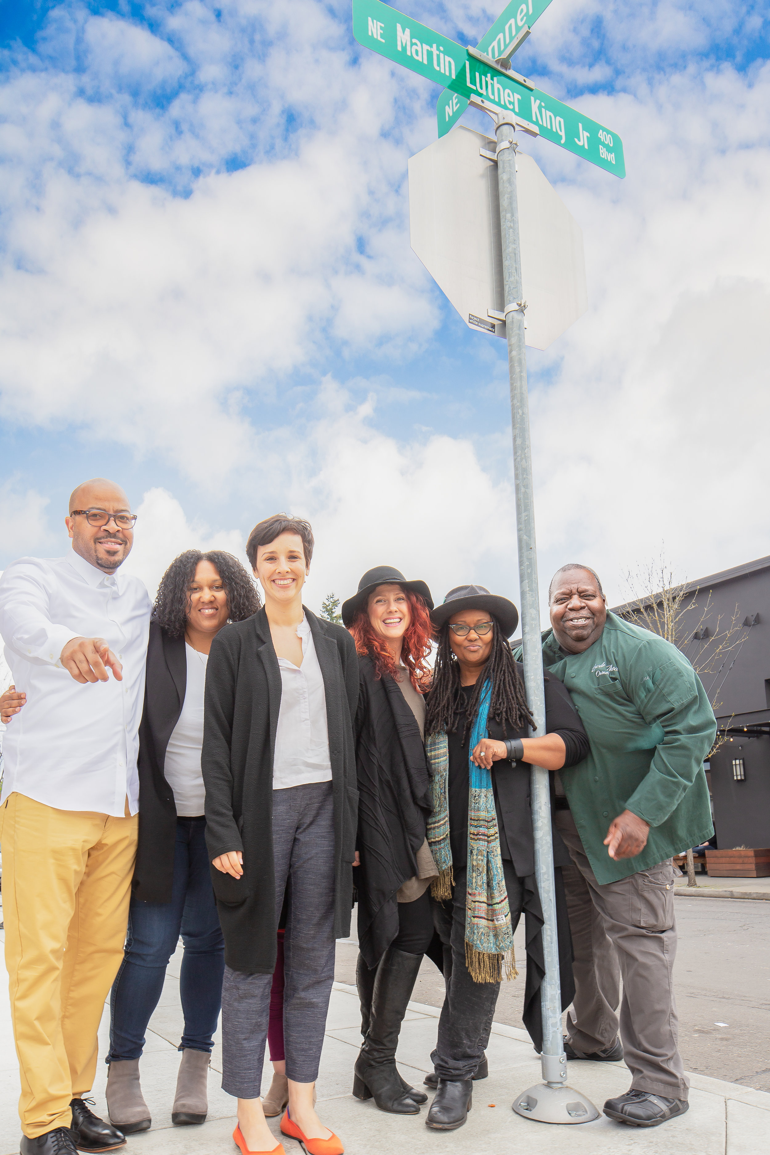 Jamaal and Christina Lane, Champions Barbershop; Project Manager Jessie Burke; Dayna and Cole Reed, greenHAUS gallery+boutique; and Theotis Cason, Cason's Fine Meats