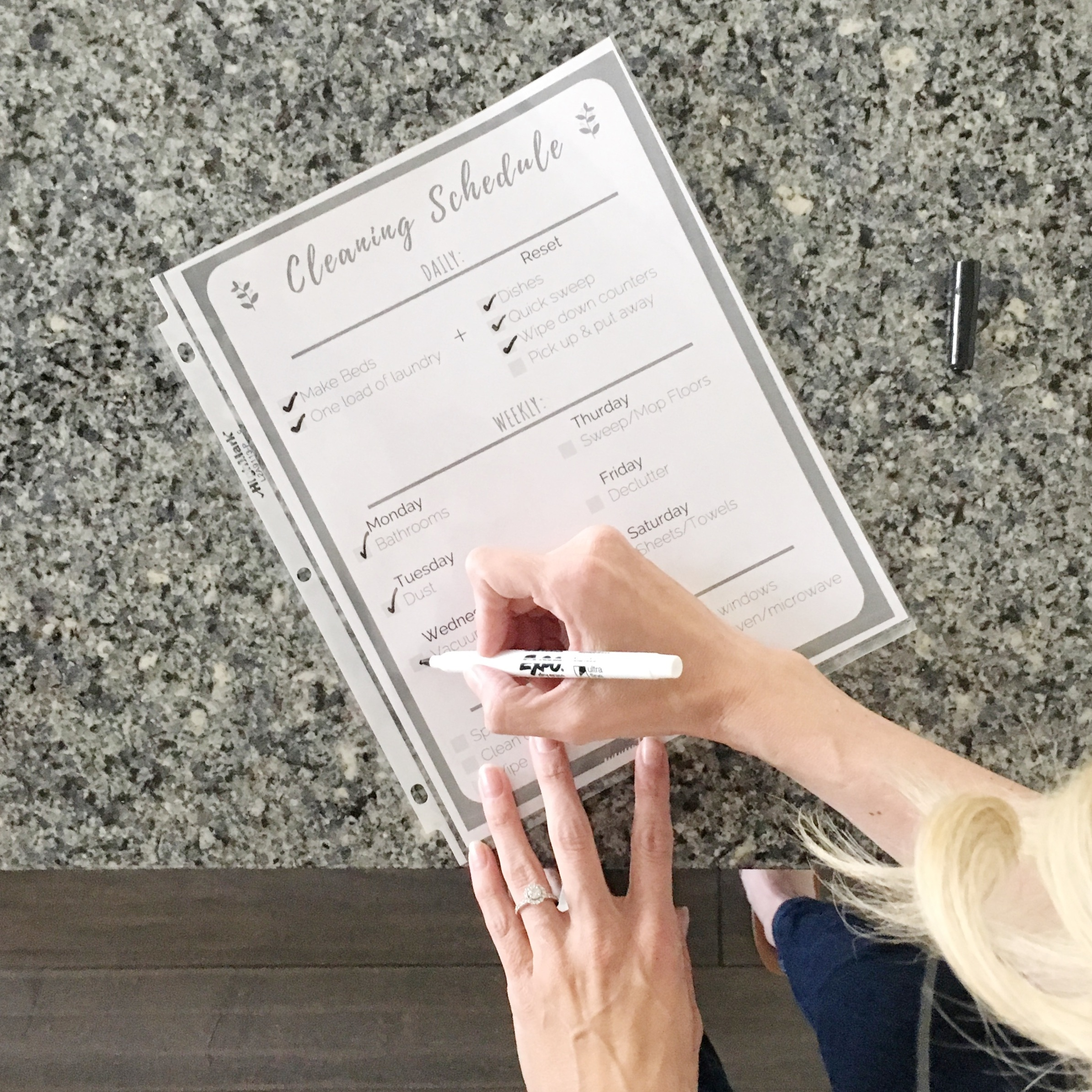 Simplified routines: household cleaning checklist