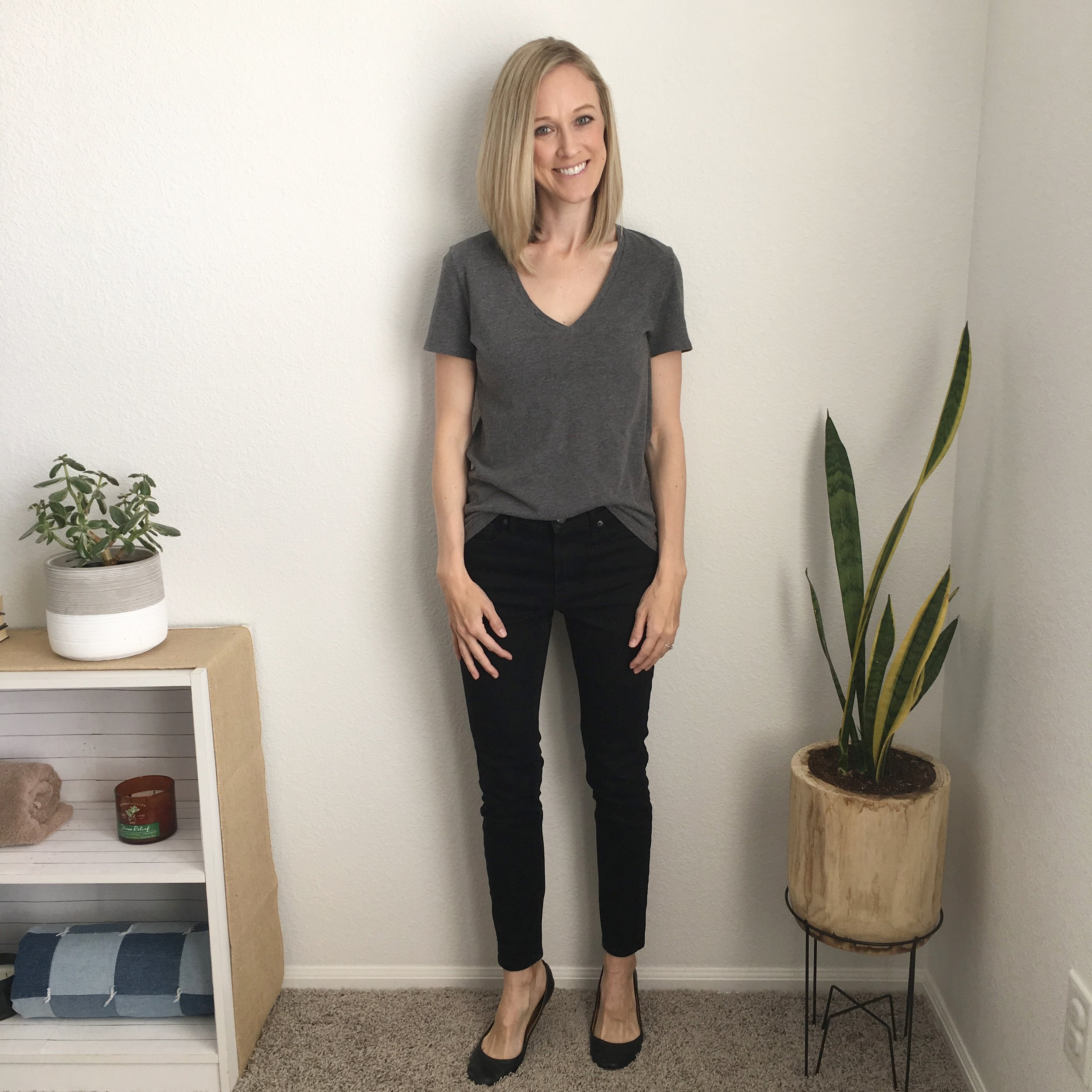 Cotton V-Neck Tee  and  Mid-rise Skinny Jean , in neutrals like I like 'em.