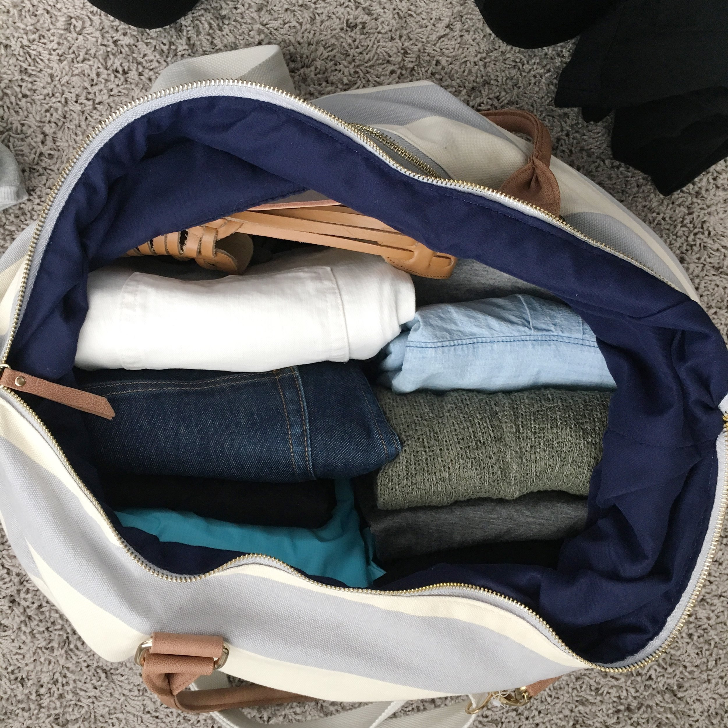 Filled duffle bag for 2 weeks of travel
