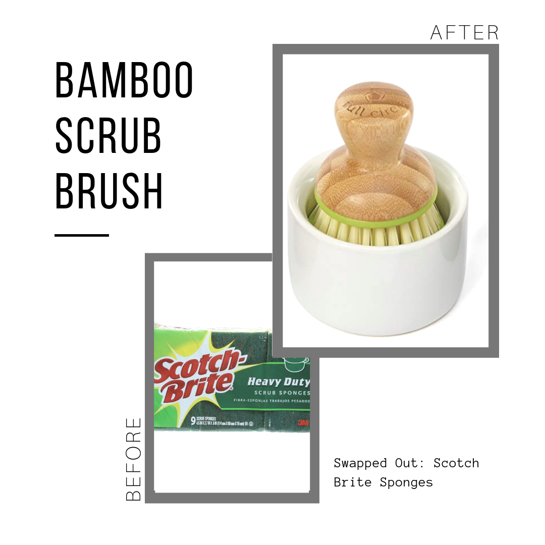 Bamboo Scrub Brush: $6.30 (lasts for years)  Scotch Brite: $7.97 (for 9 disposable sponges)