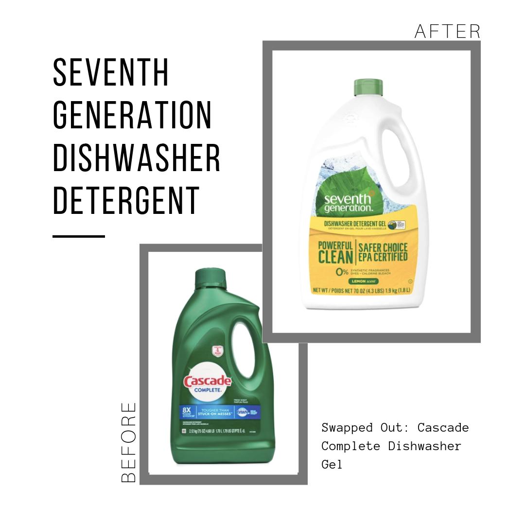 Seventh Generation Detergent: $7.99 (70 oz jug)  Cascade Detergent: $7.49 (75 oz jug)