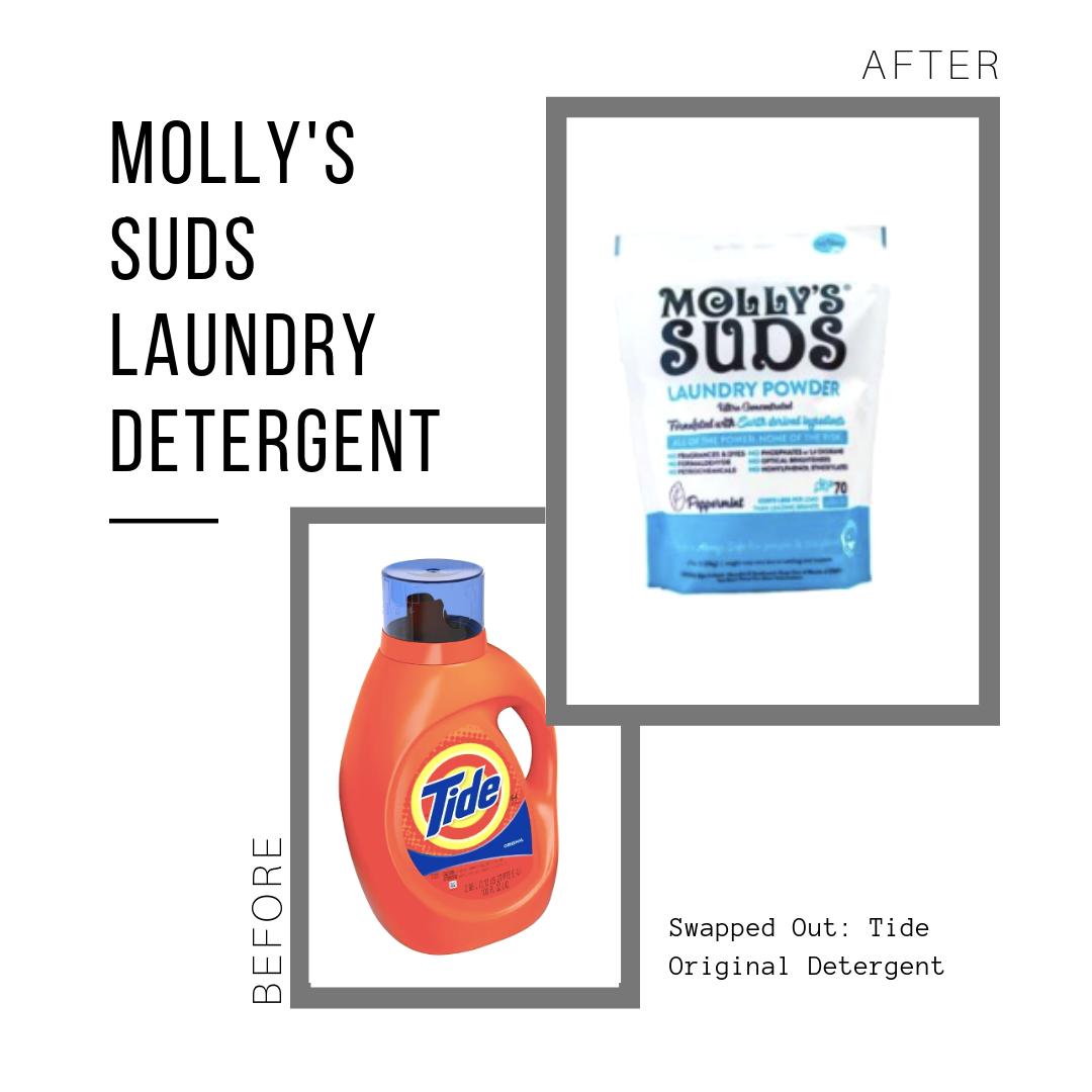 Molly's Suds Detergent: $18.04 (for 120 loads)  Tide Detergent: $34.73 (for 110 loads)