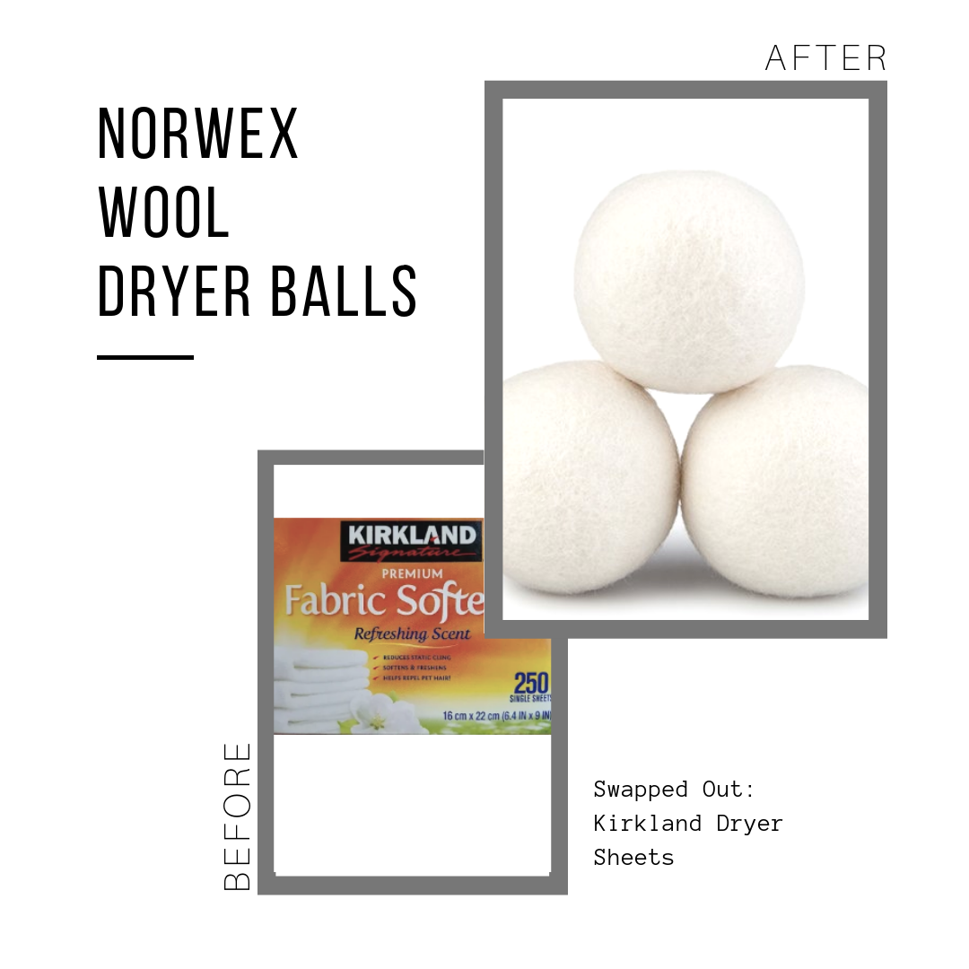 Norwex Wool Dryer Balls: $29.99 (for 3, last at least 1,000 loads)  Kirkland Dryer Sheets: $15.83 (for 250 loads)