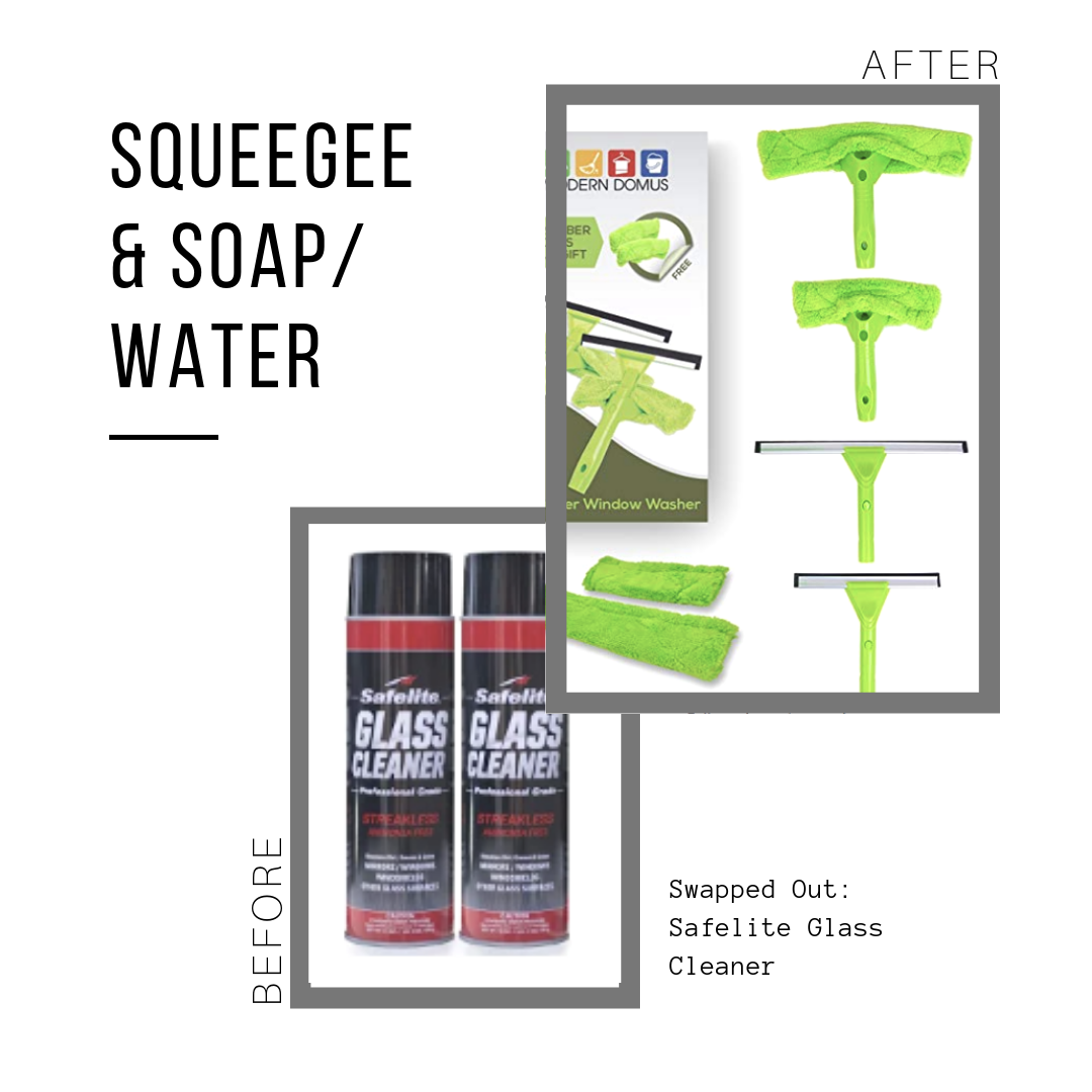 Squeegee Set: $24.95 (lasts forever, can be used in shower, too)  Safelite Glass Cleaner: $19.99 (set of 4)