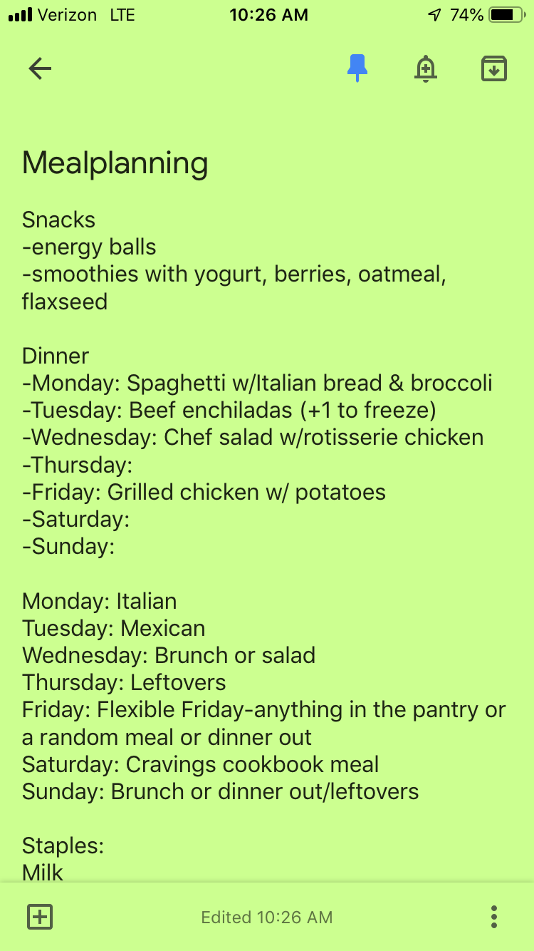 Screenshot of my Google Keep meal planning list: super simple!  *I designate a food category to each day of the week for meal inspiration, but I don't always follow it.