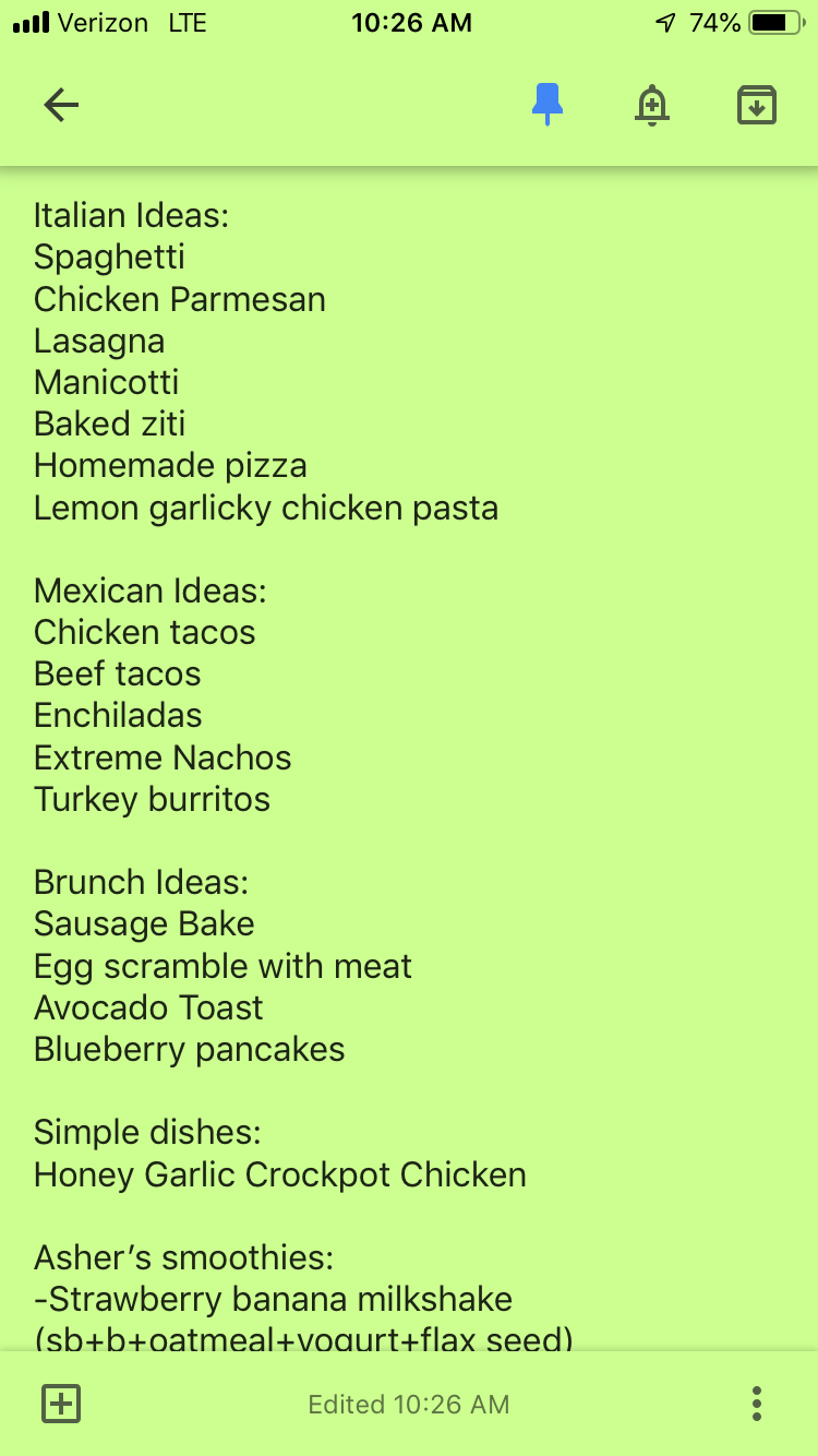 Below my meal planning list is a list of ideas in each food category. It helps me meal plan at the end of the week, when decision fatigue has set in and I'm exhausted!