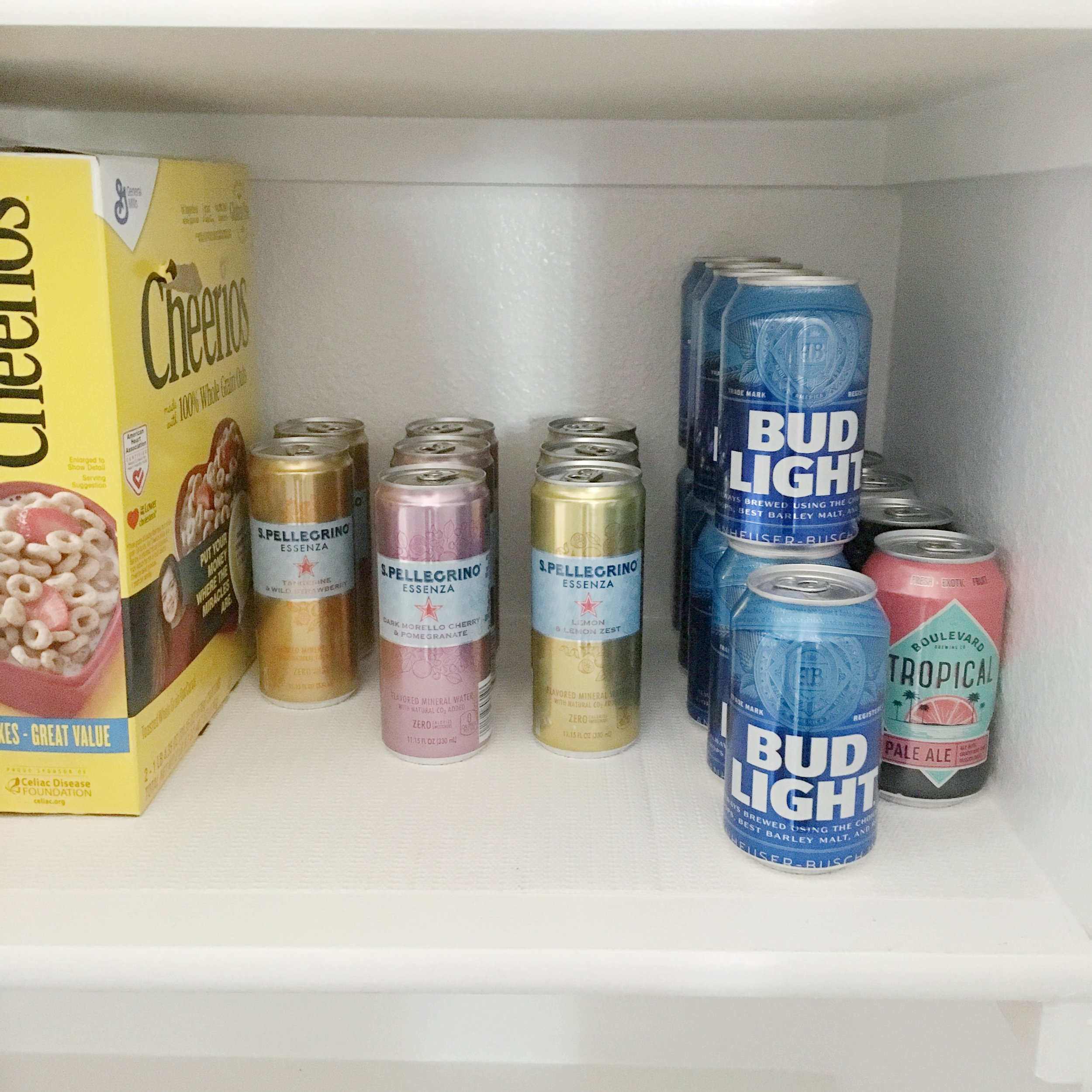 Organizing drinks in the pantry