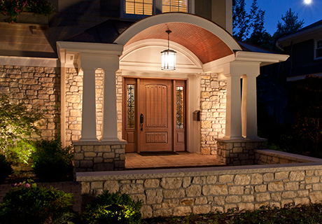 RUSTIC COLLECTION - Rustic fiberglass entry doors, made from rich Cherry grain, are designed to complement American Southwest or Mediterranean-inspired architecture. Authentic proportions and distinctive panel details offer the look and feel of solid wood with the lasting durability and energy efficient benefits of fiberglass.