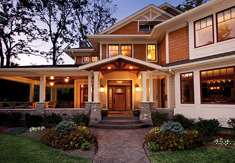 CRAFTSMAN COLLECTION - This distinctive Craftsman-style fiberglass entry door design offers the look and feel of wood with the lasting durability and energy efficiency benefits of fiberglass. These fiberglass entry doors are the perfect design for Mission, Bungalow or Transitional-style architecture.