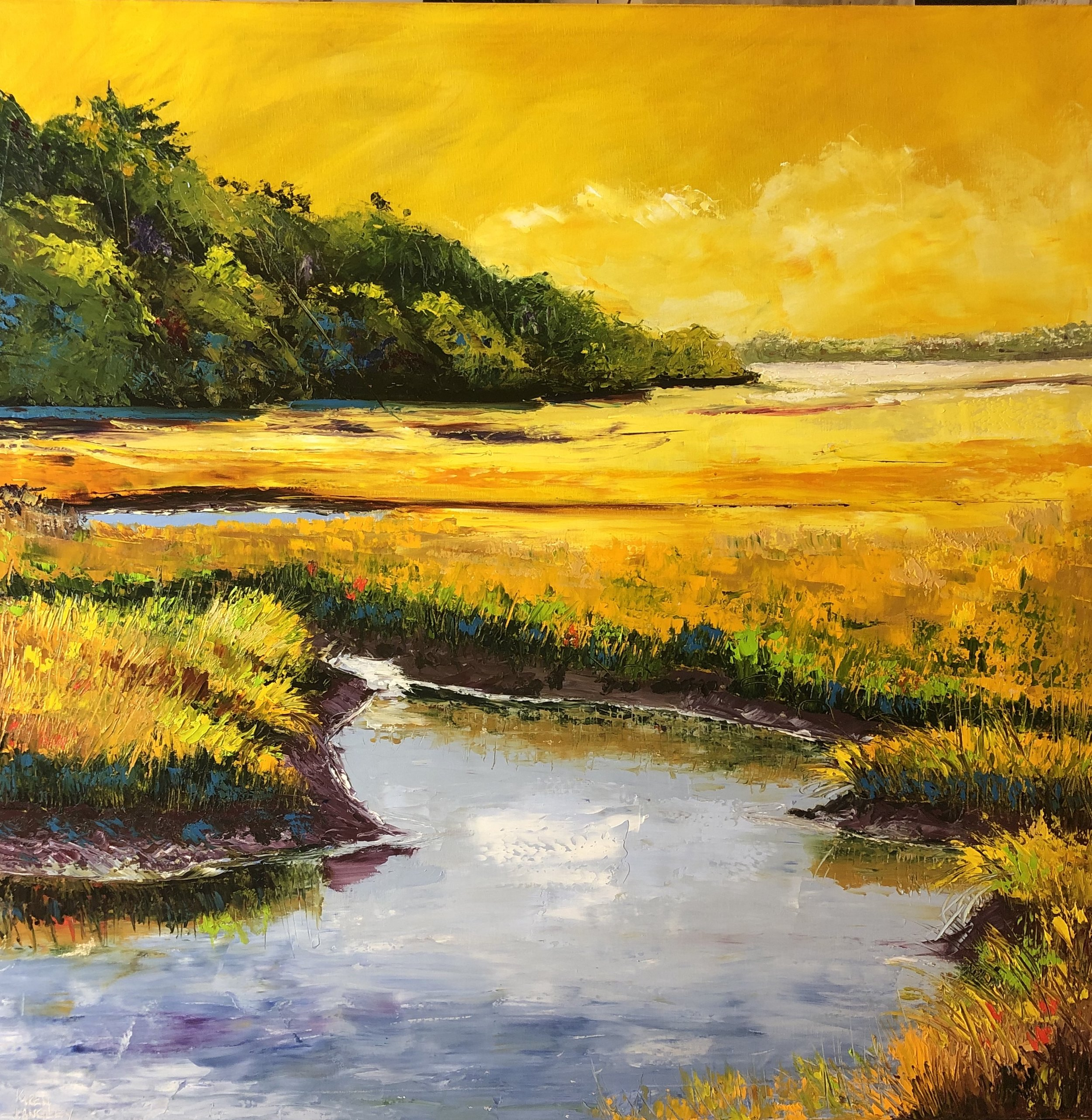 At Waters Edge  Oil on Canvas 36x36
