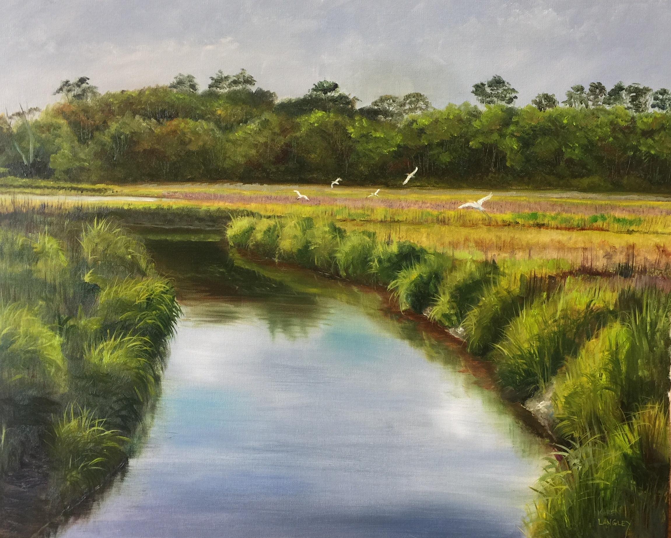 Egret Play Time  Oil on Linen 24x30