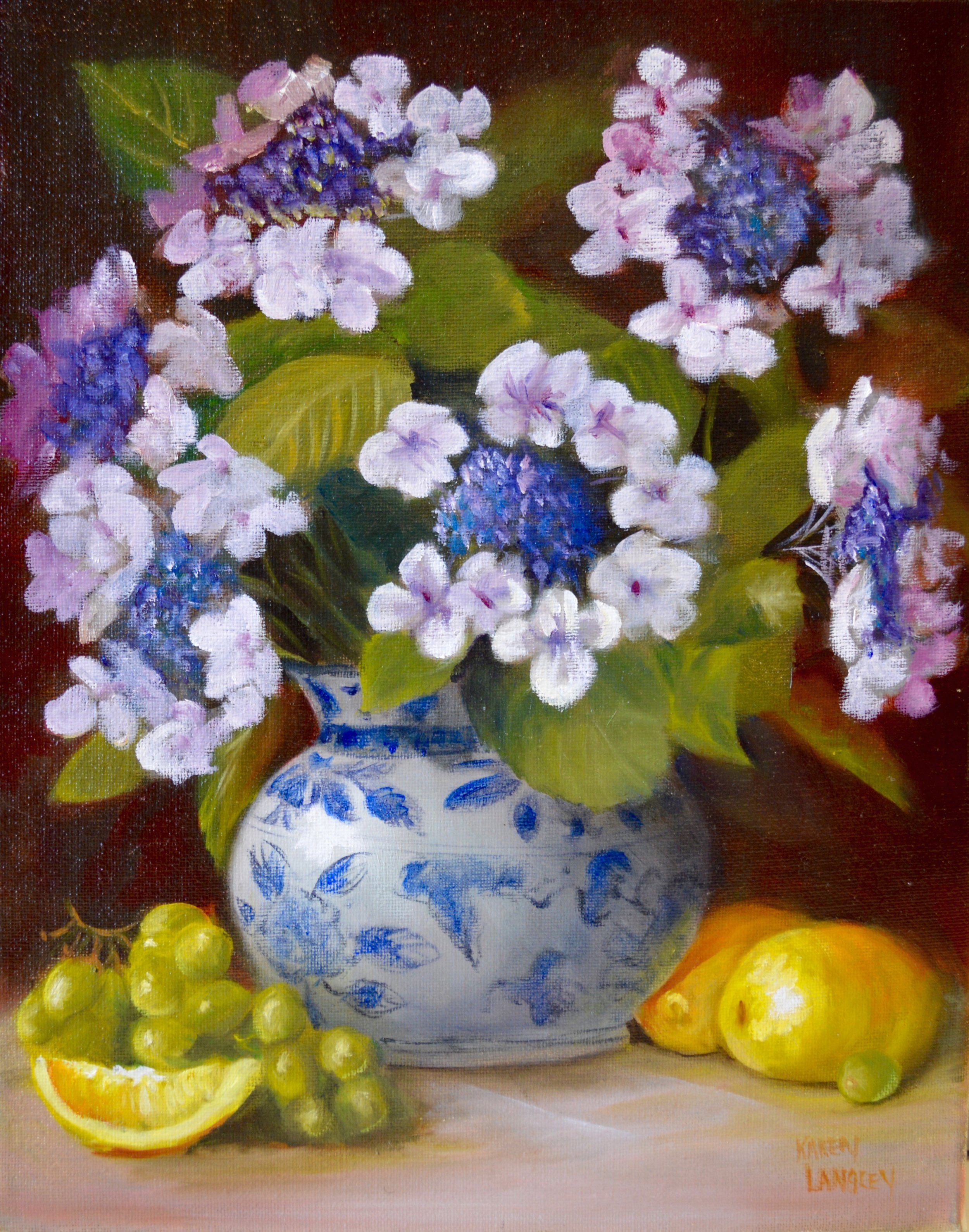 Hydrangea and Lemons  Oil on Canvas 11x14