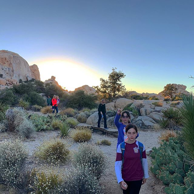 Another fantastic, family friendly sunset hike in #joshuatreenationalpark Now, down the #trail to dinner and an evening #underthestars #joshuatreeexcursions #journeysnotdestinations #trailsarecliche #socal #jtnp #mojavedesert #29trailtours