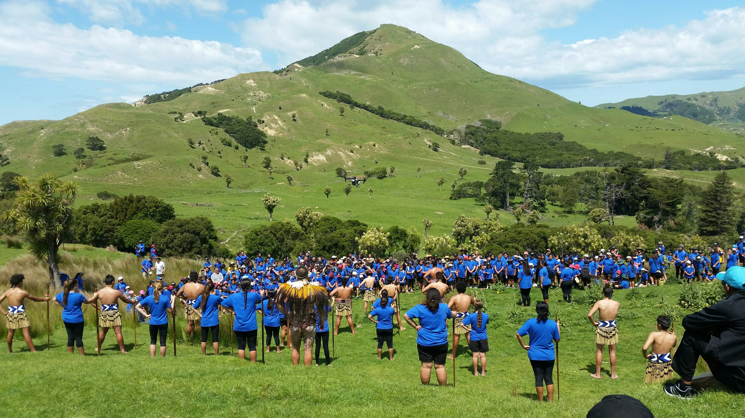 Te Aitanga a Hauiti and the Uawa Community blessing the Te Pourewa site in 2017. Image by Krystal Garrett.