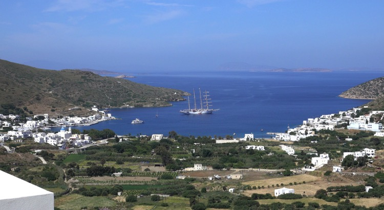Overlook of port of Patmos with Star Flyer at anchor