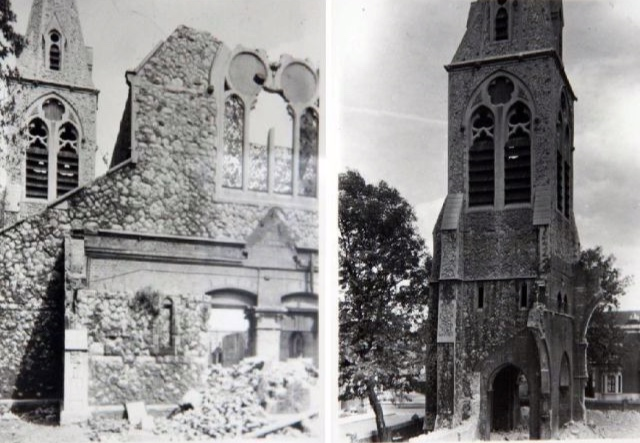 - The original church building was bombed during the Second World War, and was subsequently demolished.