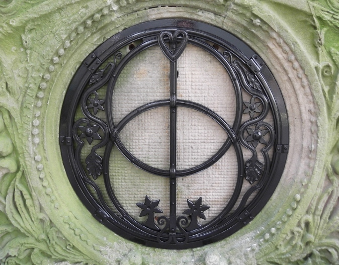 A Vesica Piscis made for a local architect to fit a reclaimed tympanum, inspired by the chalice well at Glastonbury