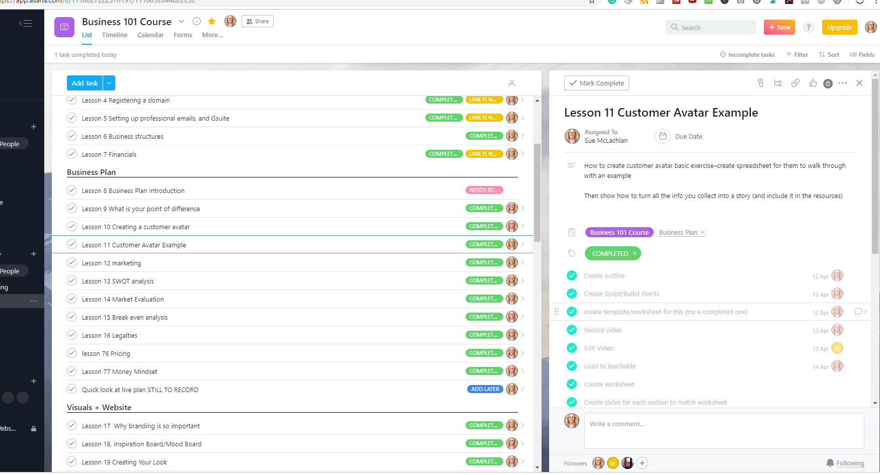 my online course outline and plan in asana - each lesson a task, with subtasks