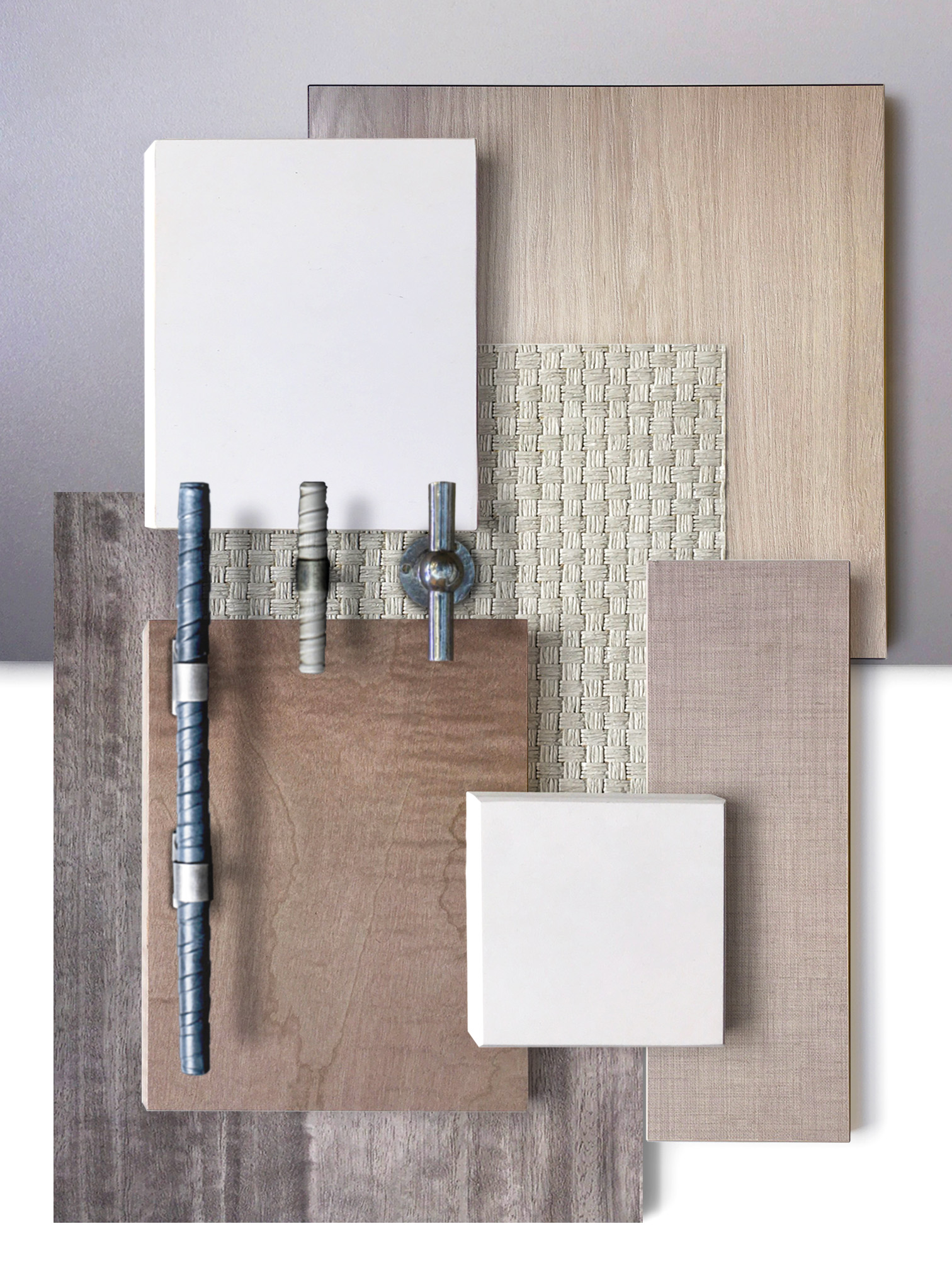 The Reflection   Sterling Silver Eucalyptus  Thibaut Sachon basket Wallpaper  Radianz Diamond White Quartz  Ochre Leather Wrapped Handles with Pewter Knuckles  Giara Chemin de Fer Cupboard Handle  Sterling Silver Quilted Maple  Elm White Wood Laminate