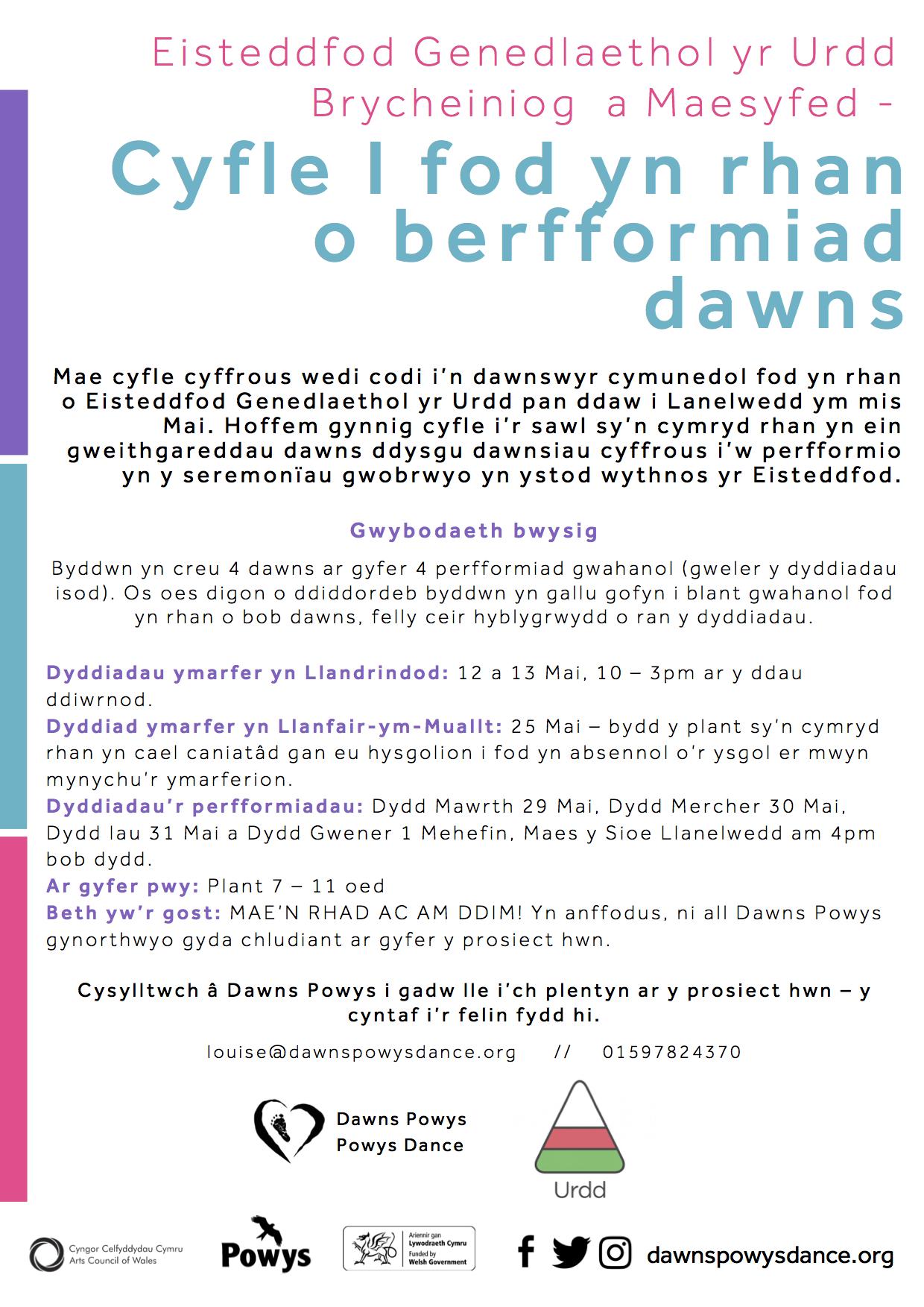 Welsh Language information sheet for Eisteddfod Opportunity 2018