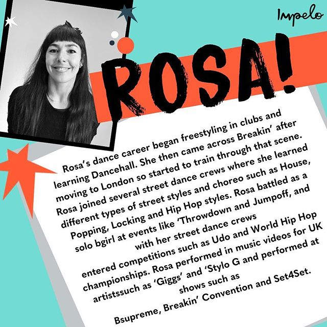 Here's a little back story on our bgirl Rosa, so much experience and expertise, don't let your little ones miss out on trying these amazing workshops THIS SATURDAY! Various sessions for ages 4-12 years at the Dance Centre #llandrindod ➡️ https://www.impelo.org.uk/weekend-breakin