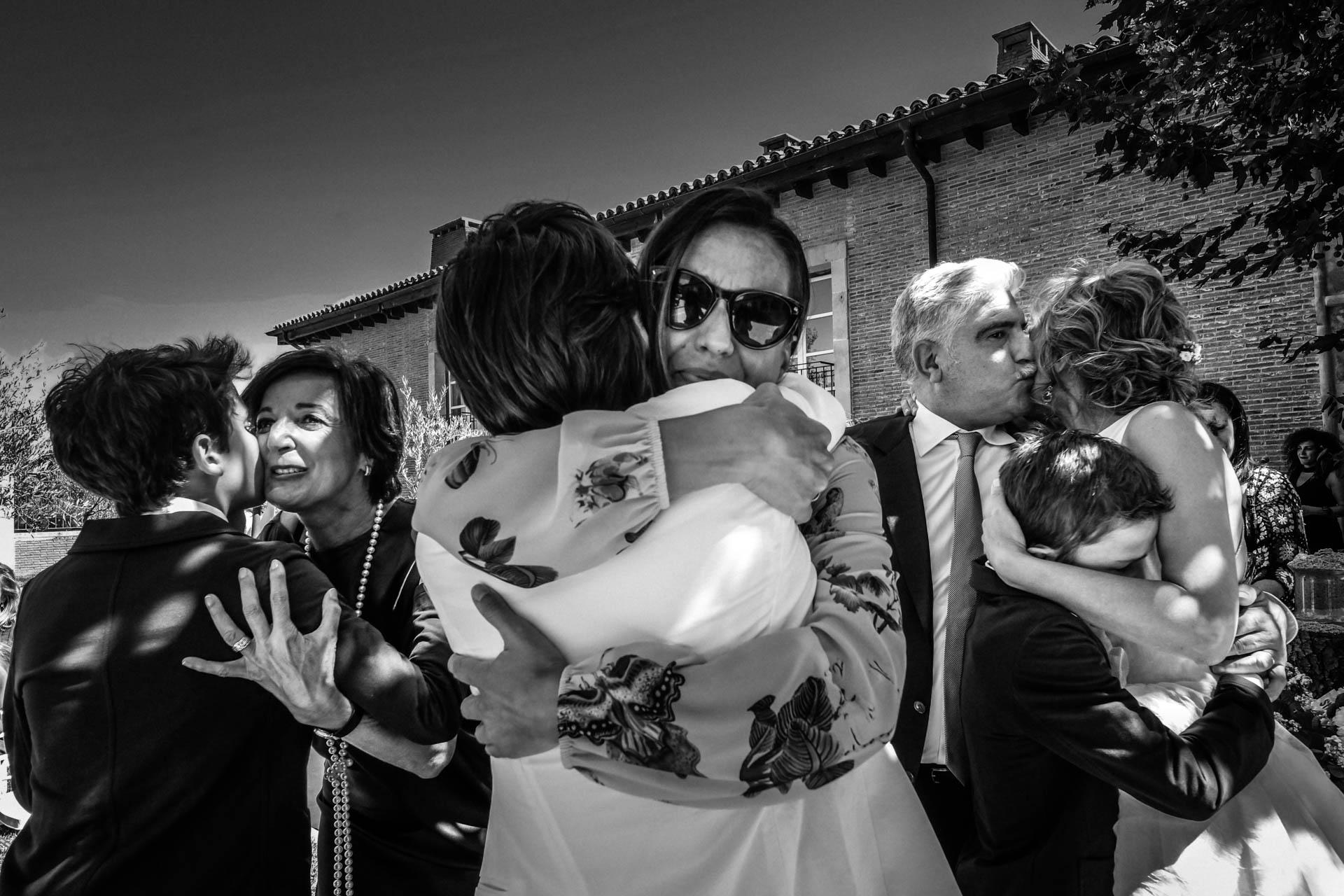 hugs at a wedding in spain