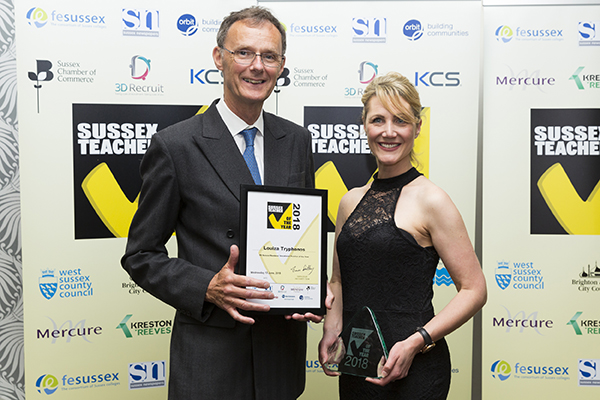 Louiza accepting her award at the Sussex Teacher Awards in 2018