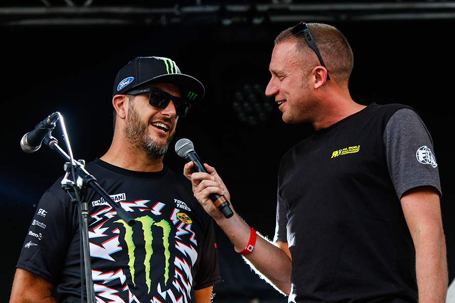 Andrew interviewing American Rallycross driver and 'Gymkhana' online video superstar, Ken Block in 2017 Credit: Tom Banks Photography