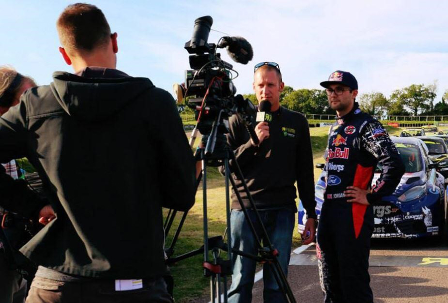 Andrew asking the post-race questions to BTCC champion and Rallycross driver, Andrew Jordan in 2014 Credit: Tom Banks Photography