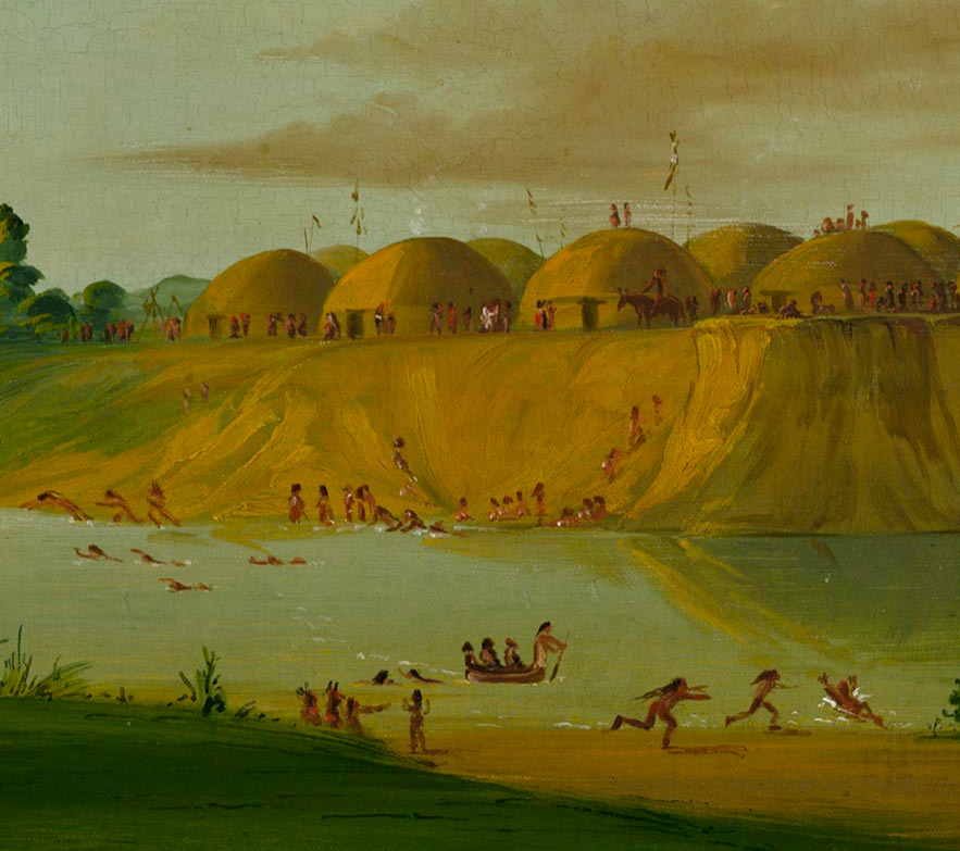 George Catlin painting of a Hidatsa earth lodge village.