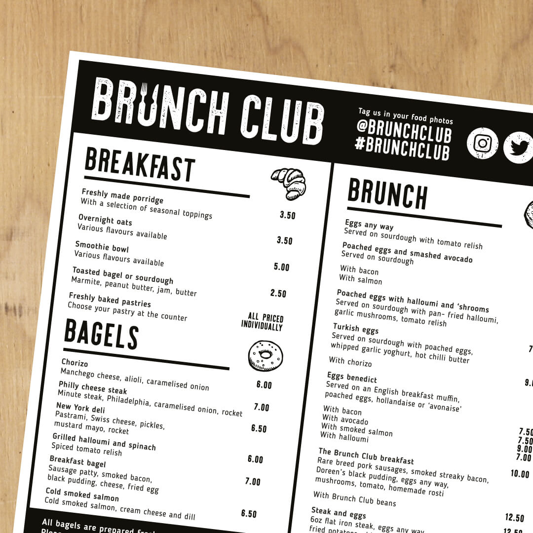 Brunch club menu Strawberrytoo
