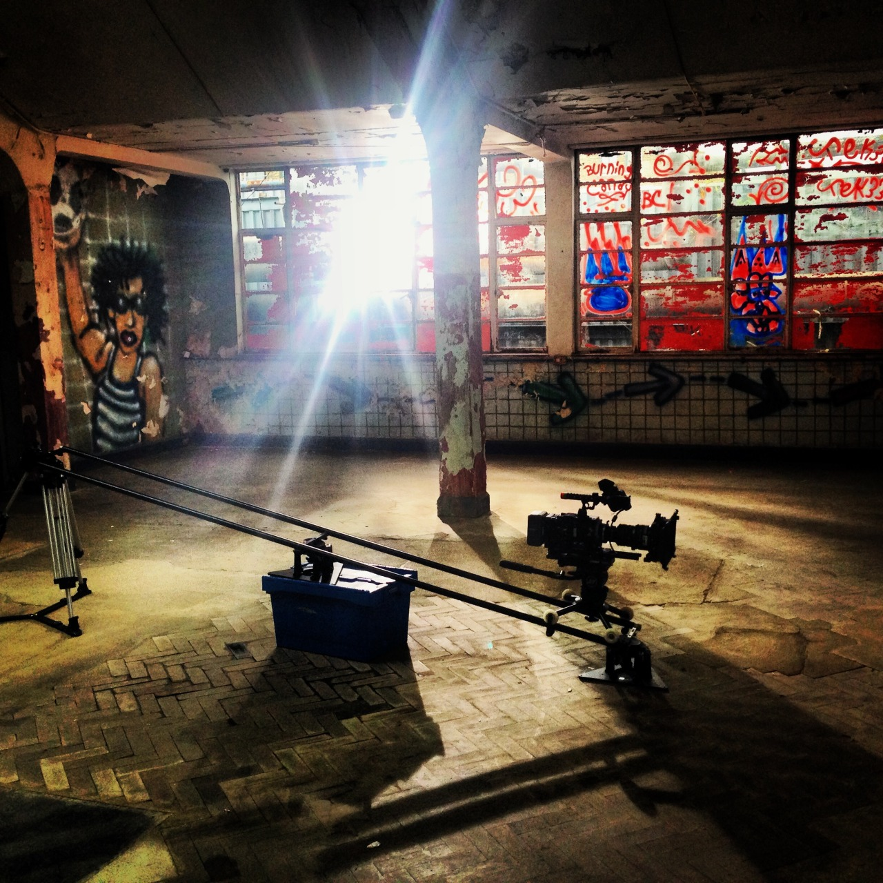 I've finally got the opportunity to direct a new Discovery series in my old backyard - East London.  In the picture above, we're lighting a warehouse location in the Old Truman Brewery on Bricklane. It's a new show - working title is 'Control Freaks' hence the slightly menacing setting.  Our presenters, including Alex Conran from the 'Real Hustle' test out theories about human psychology on members of the public.  On air in late 2014.