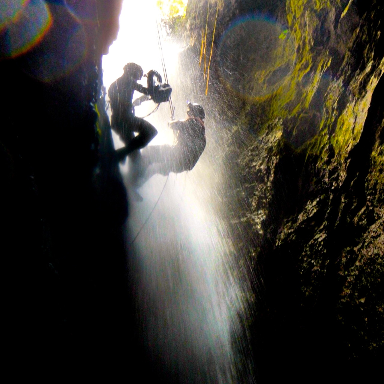 One of my favourite behind the scenes pictures and a real highlight from my shoot in Mexico for Car Vs Wild.  Presenter Bill Wu is abseiling down the side of a waterfall into a pitch black subterranean bat cave. It's documented by DOP Dan Etheridge, who was roped up and beside him all the way. Quite a stunt to pull off when you're being pummelled by a raging torrent of water. I climbed into the cave ahead of the ascent and waited ankle deep in bat poo for the guys to touch down. We got an amazing sequence, topped off by a climb and swim out, through a soupy mix of swamp water and bat faeces. All in a day's work.